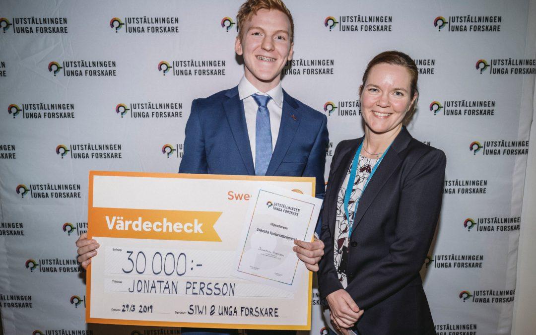 Jonatan Persson på Stockholm Junior Water Prize